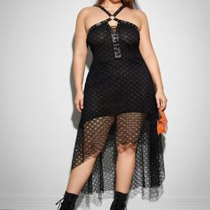 Shein Grommet Lace up high low mesh dress